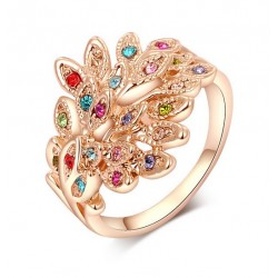 Anillo Mujer Stellux Multicolor AN000030 - Pavo Real - Baño Oro Rosa 18K