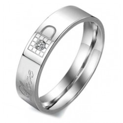 Anillo Varón AN000125H Lock & Key Love Circonia Cúbica - Acero Inoxidable 316L